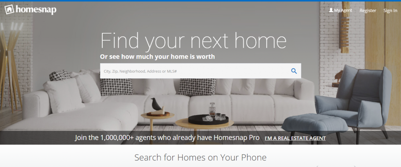 Homesnap - Best Real Estate Web Apps by ColorWhistle